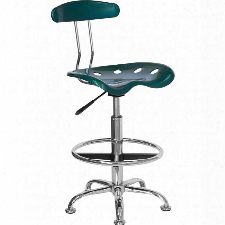 """Lf-215-green-gg 32.5"""" - 41"""" Drafting Stool With Pneumatic Seat Height Adjustment Swivel Seat Molded Tractor Seat Chrome Foot Ring And High Dens Ity Polymer"""