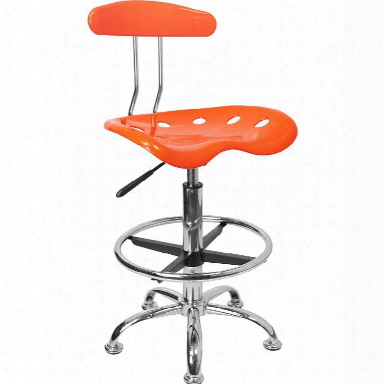 "Lf-215-orangeyellow-gg 32.5"" - 41"" Drafting Stool With Pneumatic Seat Height Adjustment Swivel Seat Molded Tractor Seat Chrome Foot Ring And High Density"
