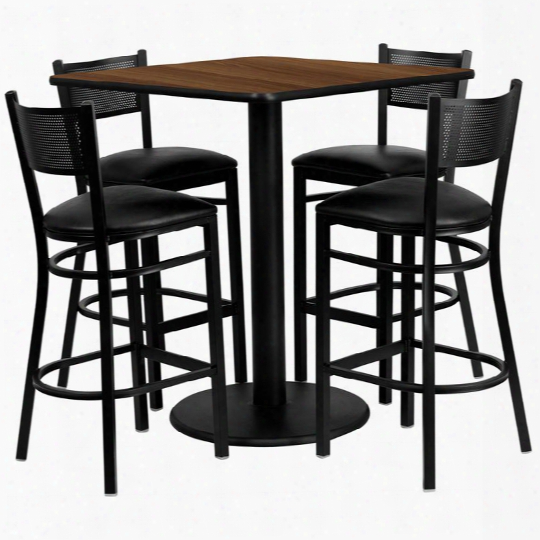 Md-0015-gg 36' Square Walnut Laminate Table Set With Grid Back Metal Bar Stool And Black Vinyl Seat Seats