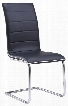 D490DC-BL Cushioned Armless Dining Chair and Chrome Legs in Black with White
