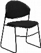 RUT-CA02-01-BK-PAD-GG HERCULES Series 550 lb. Capacity Black Padded Stack Chair with Black Powder Coated Frame