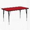 XU-A2460-REC-RED-H-A-GG 24'W x 60'L Rectangular Activity Table with 1.25' Thick High Pressure Red Laminate Top and Standard Height Adjustable