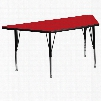XU-A3060-TRAP-RED-H-P-GG 30'W x 60'L Trapezoid Activity Table with 1.25' Thick High Pressure Red Laminate Top and Height Adjustable Pre-School