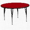 XU-A60-RND-RED-T-P-GG 60' Round Activity Table with Red Thermal Fused Laminate Top and Height Adjustable Pre-School