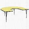 XU-A6066-HRSE-YEL-T-P-GG 60'W x 66'L Horseshoe Activity Table with Yellow Thermal Fused Laminate Top and Height Adjustable Pre-School