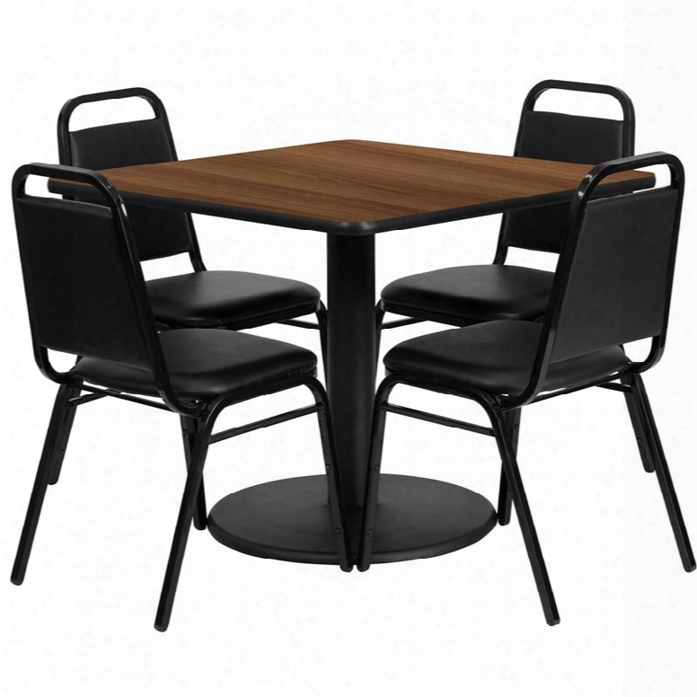 Rsrb1012-gg 36' Square Walnut Laminate Table Set With 4 Blcak Trapezoidal Back Banquet