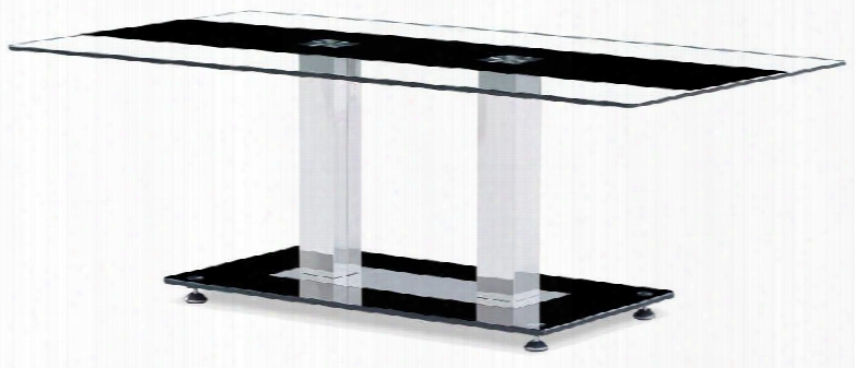 T2108c Clear Lgass Top Coffee Table Center Dark Strip Accent Two Metal Square Legs Glass