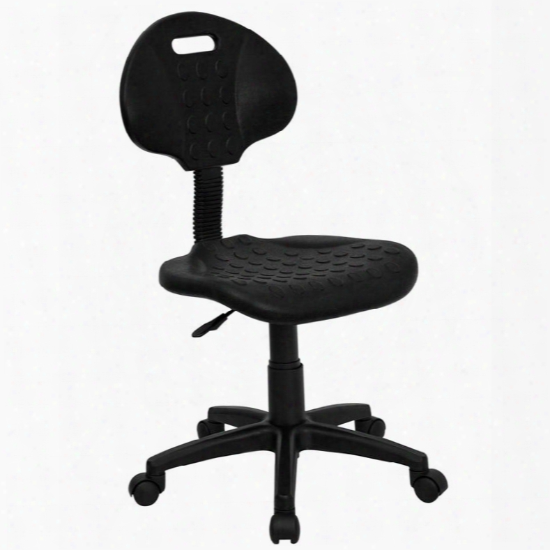 """Tuff Butt Collection Wl-908g-gg 33.25"""" - 38"""" Task Chair With Swivel Seat Stain Resistant Pneumatic Seat Height Adjustment Polyurethane Material In Black"""