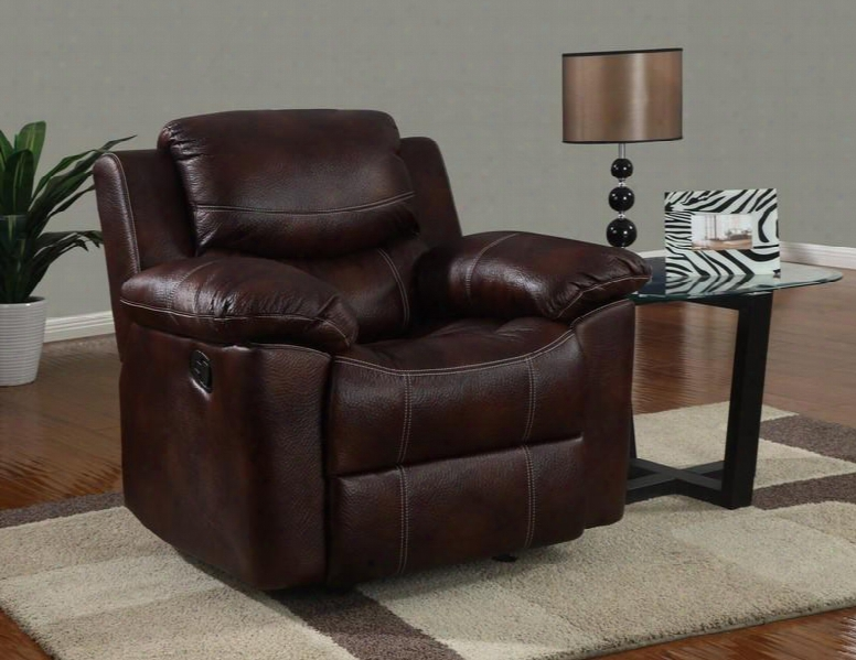 U2128-c Reclining Chair Microfiber Upholstery With Stitching Accents Plush Seats/back/arms In