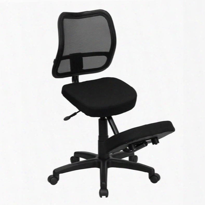 Wl-3425-gg Mobile Ergonomi Kneeling Task Chair With Black Curved Mesh Back And Fabric