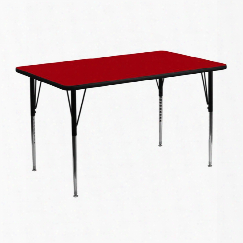 Xu-a2448-rec-red-t-a-gg 24'w X 48'l Rectangular Activity Table With Red Thermal Fused Laminate Top And Standard Height Adjustable