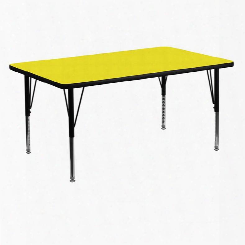 Xu-a3060-rec-yel-h-p-gg 30'w X 60'l Rectangular Activity Table With 1.25' Thick High Pressure Yellow Laminate Top And Height Adjustable Pre-school