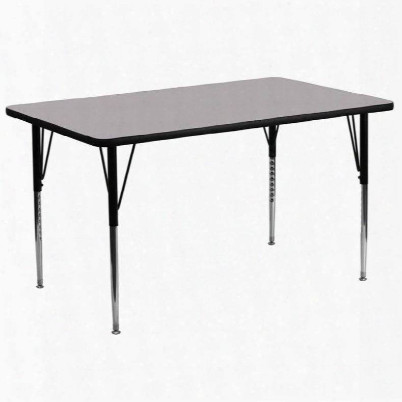 Xu-a3072-rec-gy-t-a-gg 30'w X 72'l Rectangular Activity Table With Grey Thermal Fused Laminate Top And Standard Height Adjustable