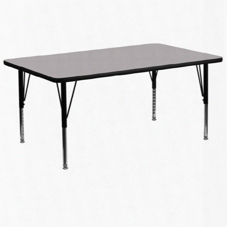 Xu-a3072-rec-gy-t-p-gg 30'w X 72'l Rectangular Activity Table With Grey Thermal Fused Laminate Top And Height Adjustable Pre-school