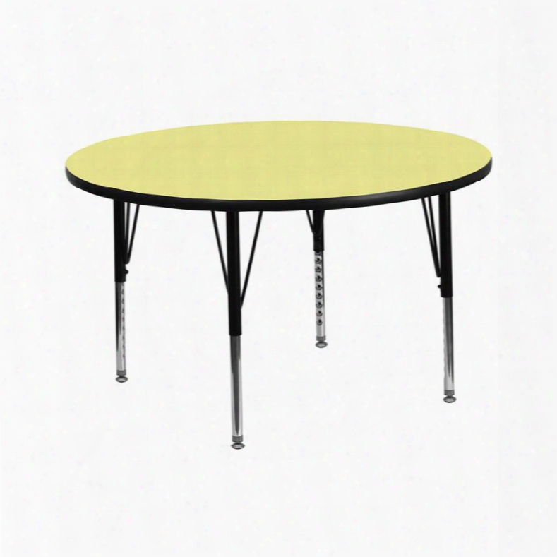 Xu-a42-rnd-yel-t-p-gg 42' Round Activity Table With Yellow Thermal Fused Laminate Top And Height Adjustable Pre-school