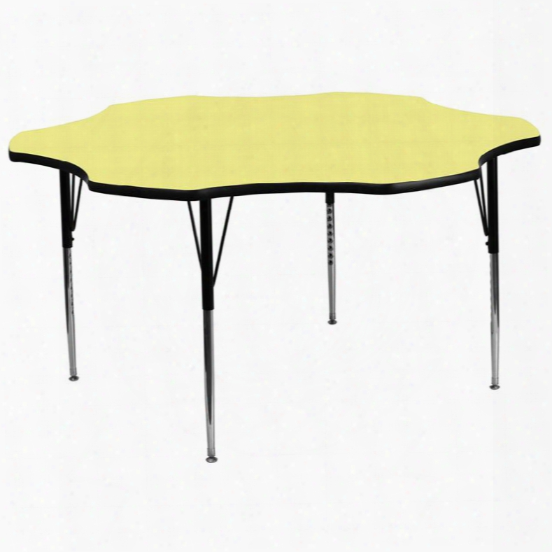 Xu-a60-flr-yel-t-a-gg 60' Flower Shaped Activity Table With Yellow Thermal Fused Laminate Top And Standard Height Adjustable