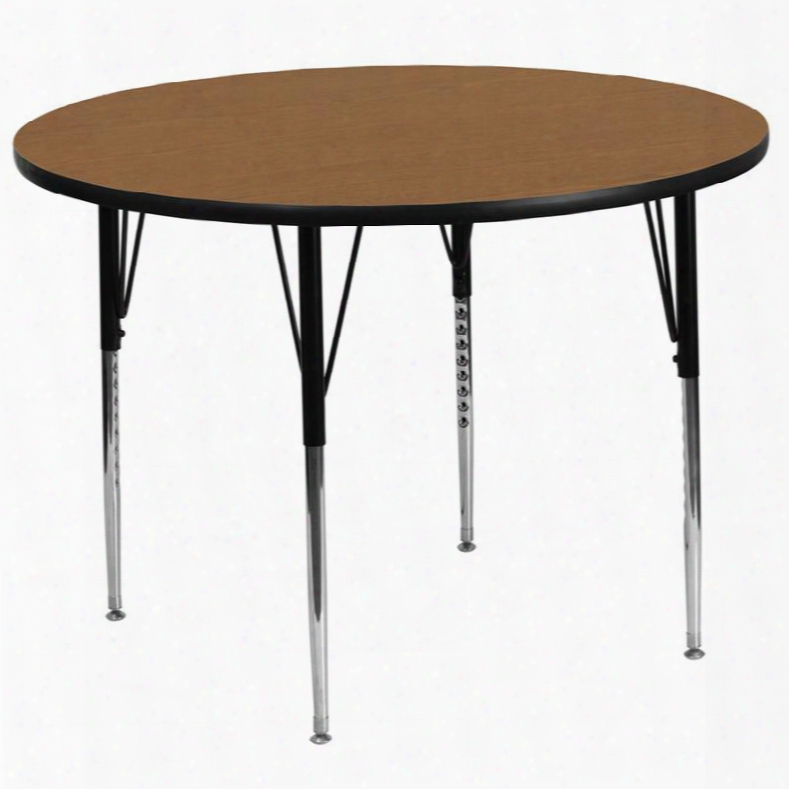 Xu-a60-rnd-oak-t-a-gg 60' Round Activity Table With Oak Thermal Fused Laminate Top And Standard Height Adjust Able