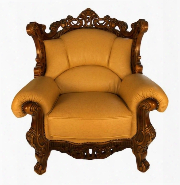 2084c Traditional Style Chair With Genuine Italian Leather Upholstery In Khaki Exquisite Details And Possession Carved Wooden Frame In Matte Walnut