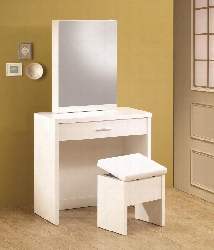 300290 Vanity With Drawer Hidden Mirror Storage And Lift-top Stool In White