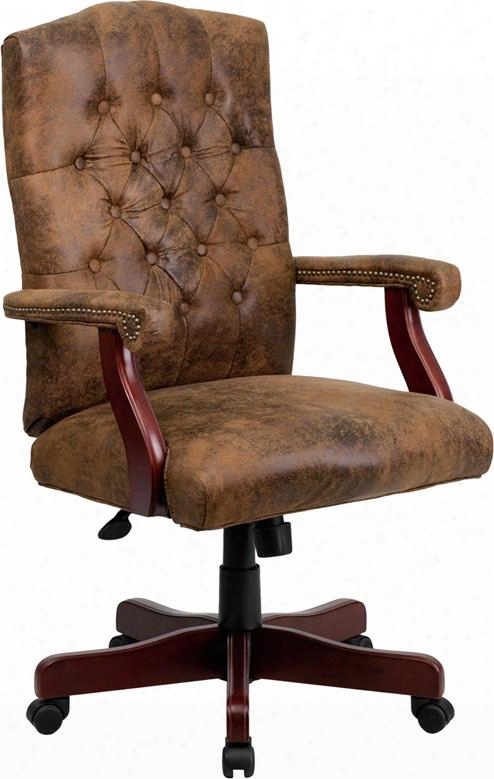 "802brngg 48"" Classic Executive Swivwl Traditional Office Chair With Button Tufted Back Tilt Lock Mechanism Mahogany Wood Capped Metal"