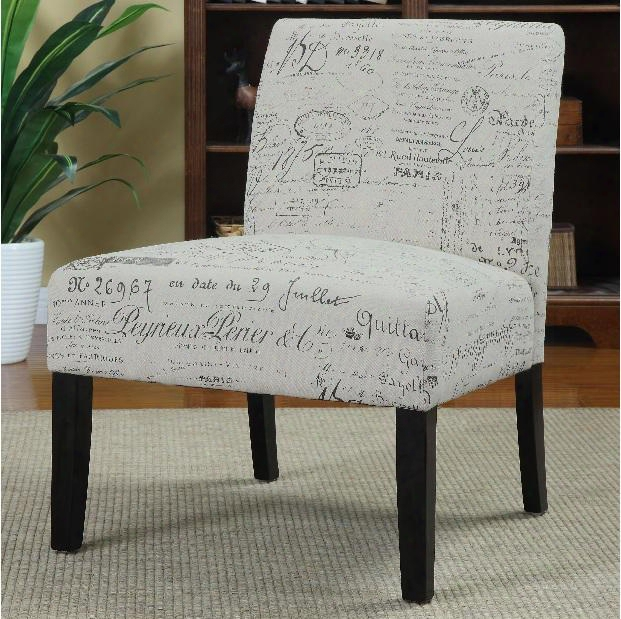 902055 Accent Seating Armless Accent Chair With Contemporary Furniture Style In French Script