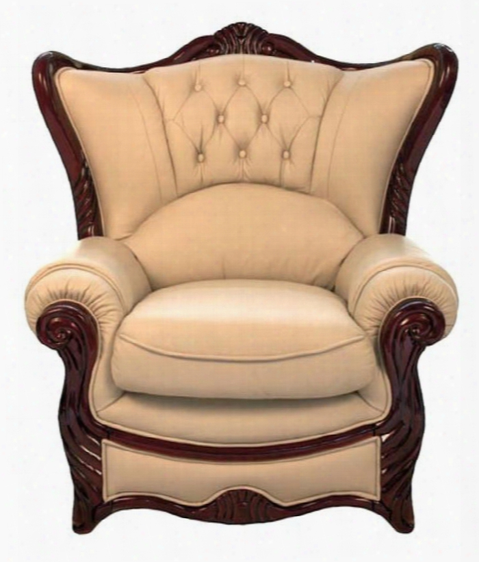 988ivoryc Traditional Style Chair With Mahogany Wood Finish Hand Carved Wooden Frames And Genuine Italian Leather In