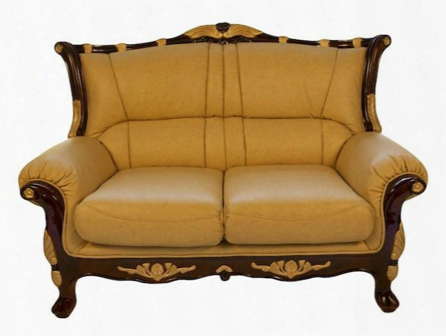 992l Traditional Style Loveseat With Genuine Italian Leather Upholstery In Khaki Hand Carved Wooden Frame In High Gloss Mahogany Finish And Gold Laf