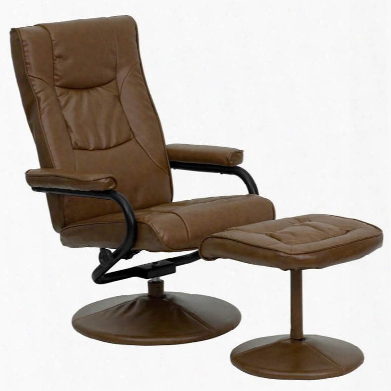 Bt-7862-palimino-gg Contemporary Pliimino Leather Recliner And Ottoman With Leather Wrapped