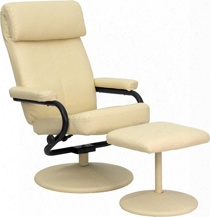 "Palomino Collection Bt-7863-cream-gg 26.5"" Recliner And Ottoman With Pillow Top Headrest Knob Adjusting Recliner Swivel Seat And Leathersoft Upholstery In"