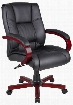 """Aaria Collection AELD62M-BK 19"""" Seat Height Eldorado - Mid Back Managerial Chair: Mahogany Finished Frame - Black"""