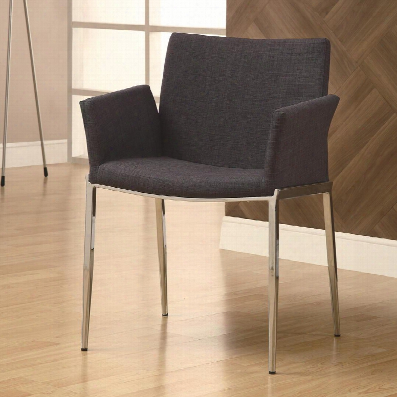 "120722 Dining 120 32""fabric Upholstered Dining Chair With Polished Chrome Tapered Legs In"