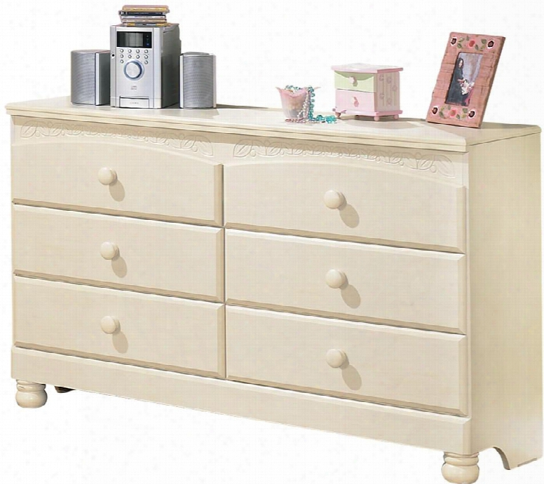 """Cottage Retreat Collection B213-21 56"""" 6-drawer Dresser With Side Roller Glides Graphic Leaf Design And Bun Feet In Cream Cottage"""