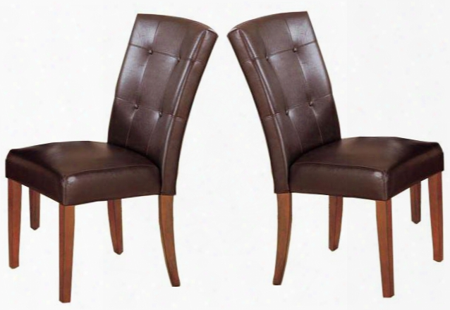 Bologna 07046 Set Of 2 Side Chairs With Faux Leather Upholstery Button Tufted Seat Back Solid Hardwood And Veneers In Brown Cherry