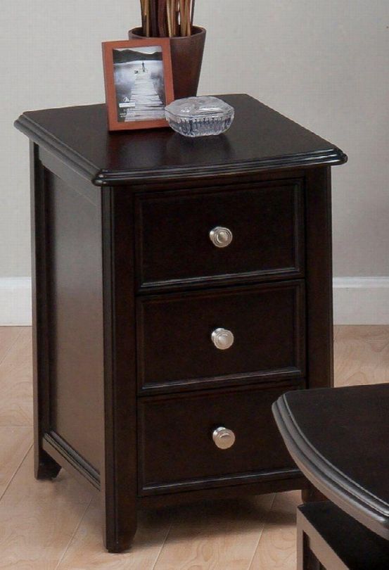"""Corranado Collection 319-7 16"""" Chairside Table With Solid Asian Hardwood Birch Veneer And Two Drawers In"""