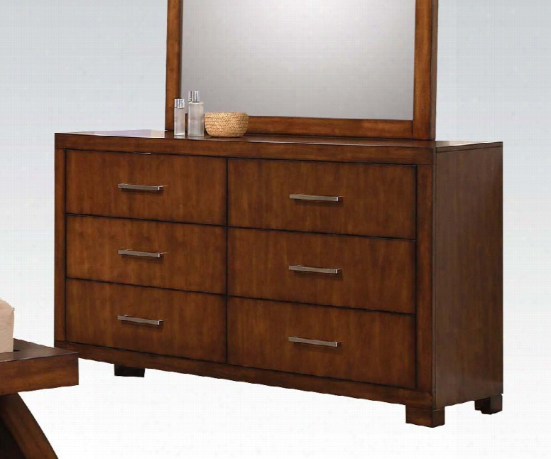 """Galleries Collection 20235 63"""" Dresser With 6 Drawers Brushed Nickel Hardware Center Metal Drawer Glides And Wood Frame In Oak"""