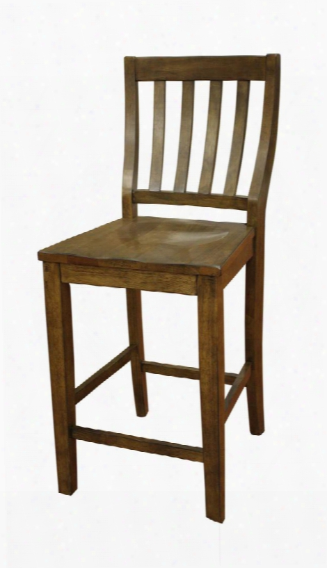 """Hyden Series 700200cg 24"""" Vertical Slat Back Counter Height Dining Chair With Floor Glides In A Coastal Grey"""