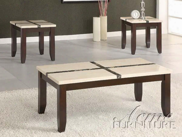 "Justin 16558 3 Pc Coffee And End Table Set With 1 48"" Coffee Table 2 22"" End Tables Square Tapered Legs White/black Faux Marble Tops Select Hardwoods And"