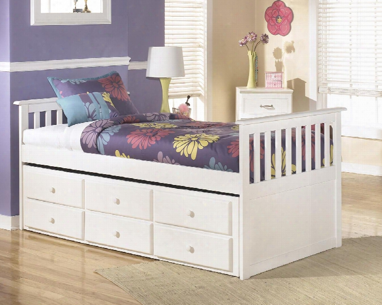Lulu Collection B102-50d/50t/53/83 Twin Trundle Bed With Grooved Panels 3 Storage Drawers And Replicated Paint In