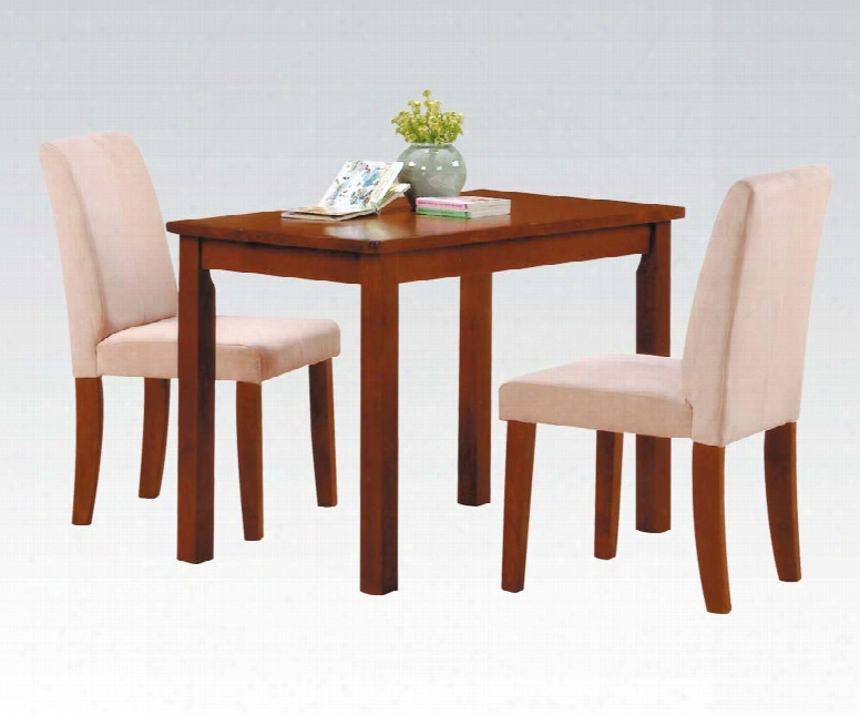 Newport Collection 04000 3 Pc Youth Dining Room Set With Rectangular Table 2 Side Chairs Microfiber Upholstery And Solid Hardwood Materials In Oak