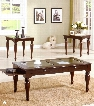 Evan 18448 3 PC Coffee and End Table Set With Glass Top Center Turned Post Legs Drawer on Coffee Table Select Hardwoods and Veneers Material In Dark
