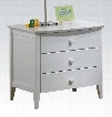 "San Marino Collection 09158 24"" Nightstand with 3 Drawers Tapered Legs Round Knobs Rubberwood and Veneer Materials in White"