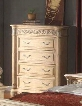 """Sienna SIENNA-CH 44"""" Traditional 4-Drawer Chest with Hand Carved Designs Decorative Hardware and Pilasters in White"""