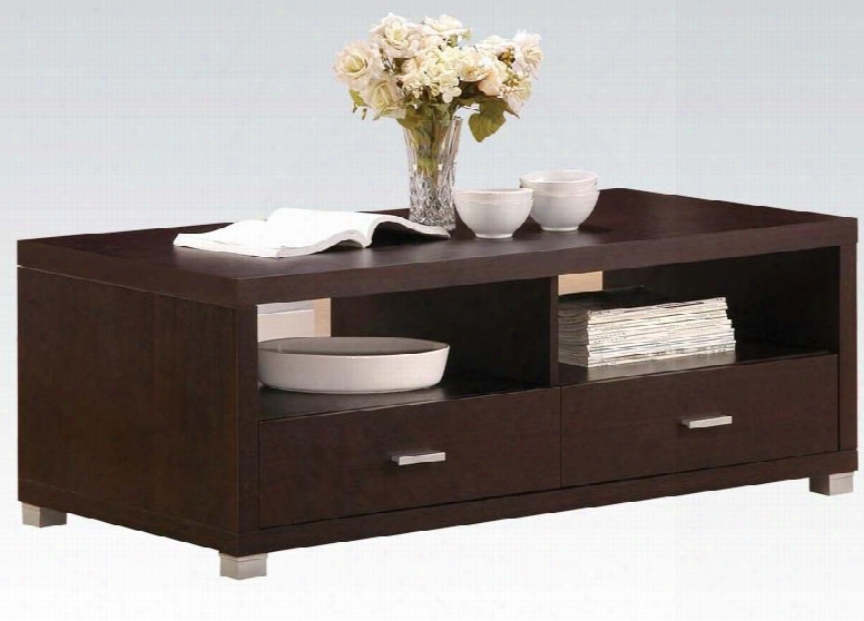 """Redland Collectio 06612 47"""" Coffee Table With 2 Drawers 2 Open Compartments Metal Hardware And Medium-density Fiberboard (mdf) In Espresso"""