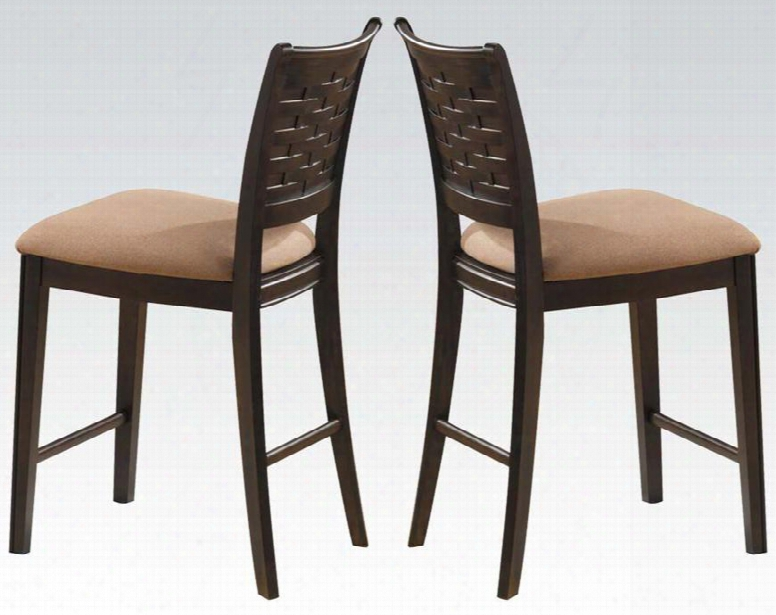 Tommy Collection 04112 Set Of 2 Counter Height Chairs With Basket Weave Backrest Tan Microfiber Seat Cushion And Tapered Legs In Espresso