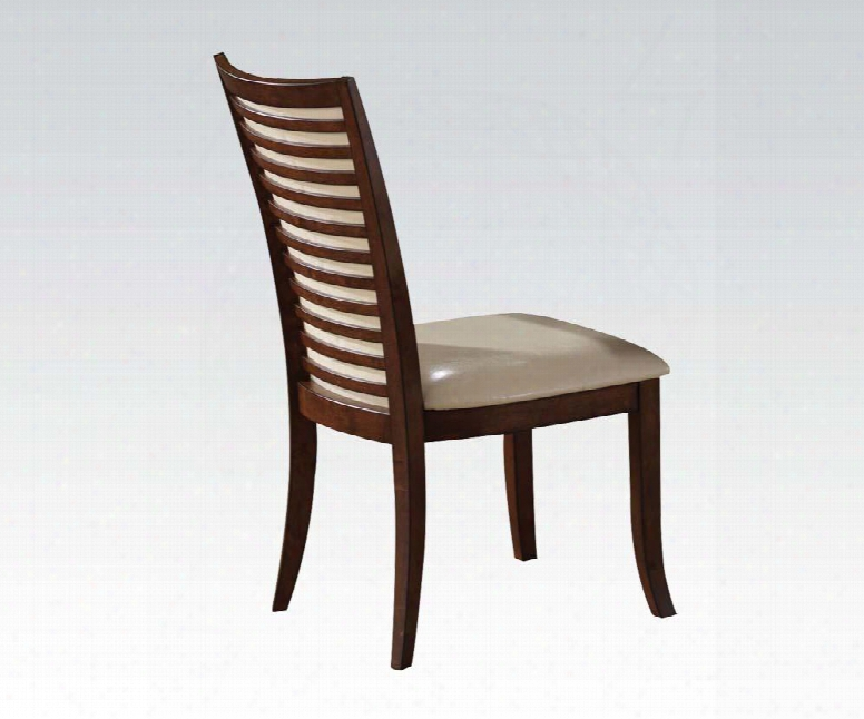 "70022 19"" Pacifica Side Chair With Pu Leather Upholstered Seat And Back Distressed Detailing And Tapered Legs In Cherry"