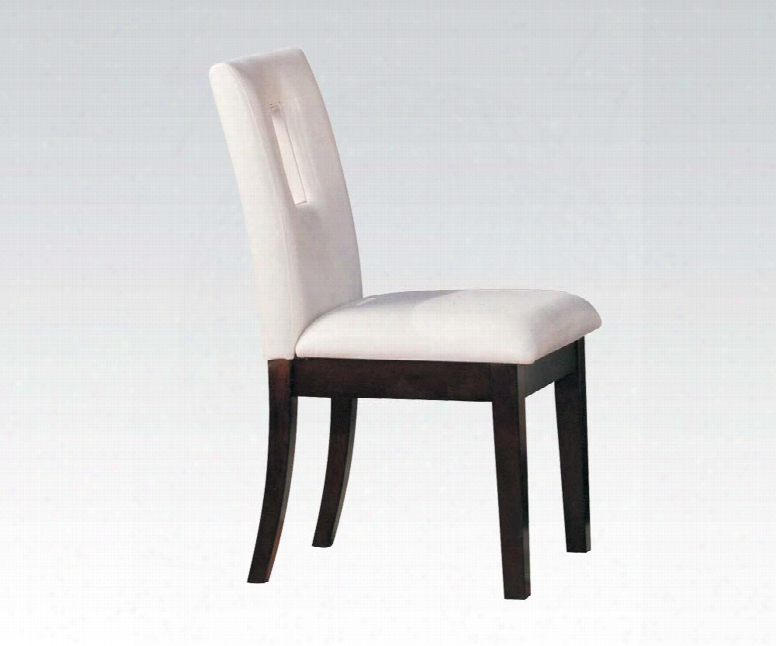 """Britney Collection 10033 Set Of 2 19"""" Side Chairs With Pu Leather Upholstery And Tapered Legs In Walnut"""