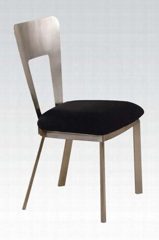 """Camille Collection 10093 Set Of 2 19"""" Side Chairs With Black Microfiber Seat Upholstery Andmetal Tube In Satin Plated"""