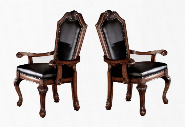 """Chateau De Ville Collection 10039 Set Of 2 19"""" Arm Chair With Distressed Detailing Cabriole Legs And Carved Detailing In Black Pu &"""