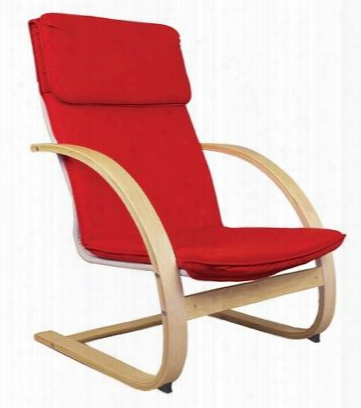 G6468 Teacher's Red Classroom Rocker With Powder Coated Steel Frame Red Canvas Upholstery And Natural Wood