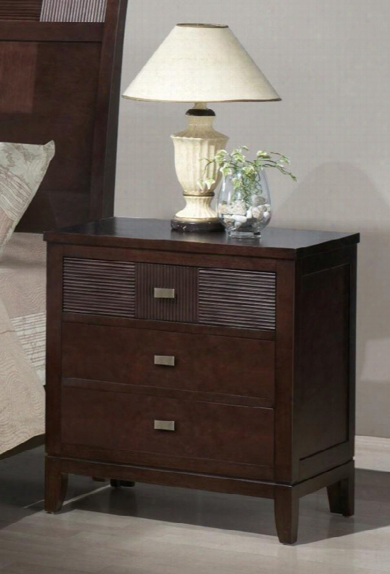 Hd1163n Hidalgo 3 Drawer Wood Nightstand In Espresso